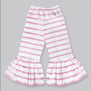 Girls Vanilla & Pink Stripe Boho Ruffle Pants